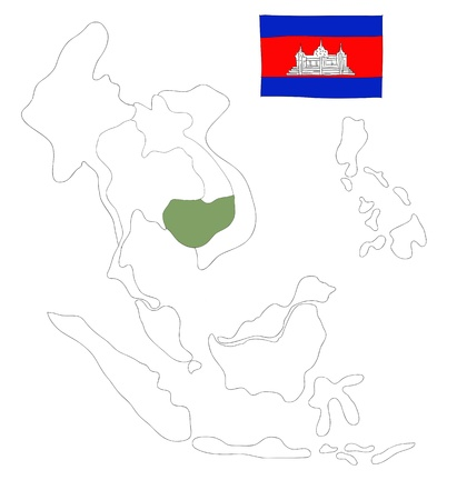 drawing  map of South East Asia countries that will be member of AEC with cambodia flag symbol Stock Photo - 17576559