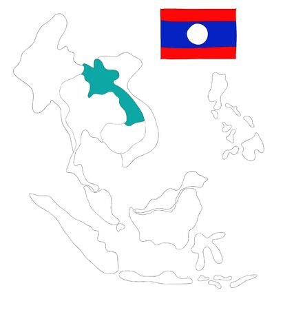 seaa: drawing  map of South East Asia countries that will be member of AEC with Laos flag symbol Stock Photo