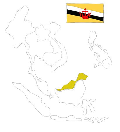 drawing  map of South East Asia countries that will be member of AEC with Bruneian flag symbol Stock Photo - 17576557