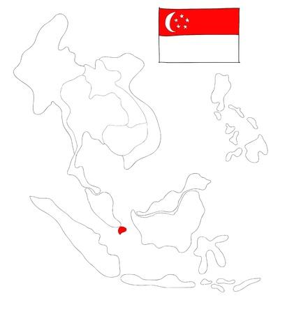 drawing  map of South East Asia countries that will be member of AEC with Singapore flag symbol