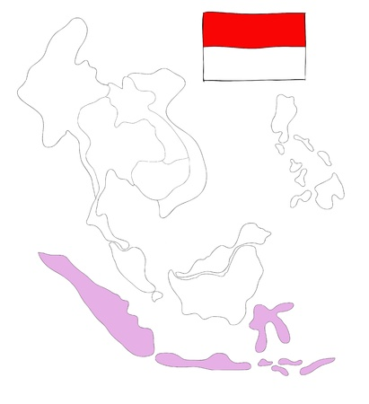 drawing  map of South East Asia countries that will be member of AEC with Indonesia flag symbol Stock Photo - 17576549
