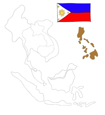 seaa: drawing  map of South East Asia countries that will be member of AEC with Philippines flag symbol