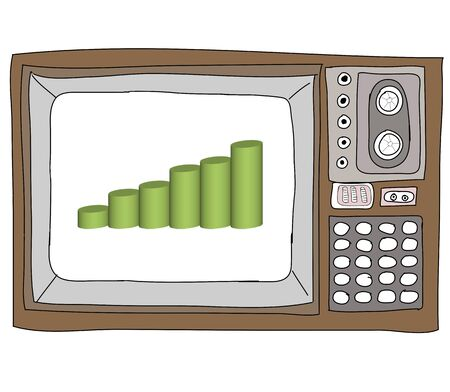 Drawing  television retro  and   graph Stock Photo - 17576591