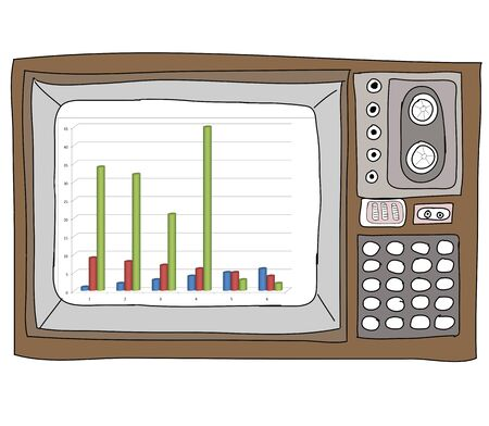 Drawing  television retro  and   graph Stock Photo - 17576593