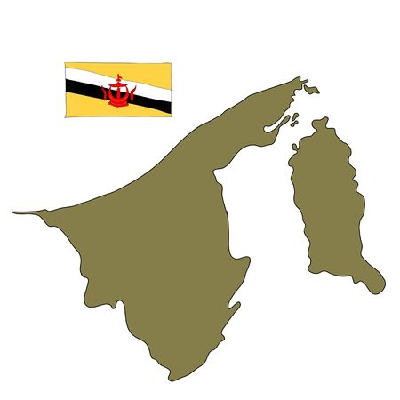 map of brunei: hand drawn Brunei flag on map of country Stock Photo