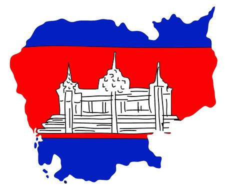 paraphernalia: hand drawn  Flag and map of Cambodia