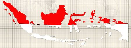 paraphernalia: hand drawn Flag and map of Indonesia