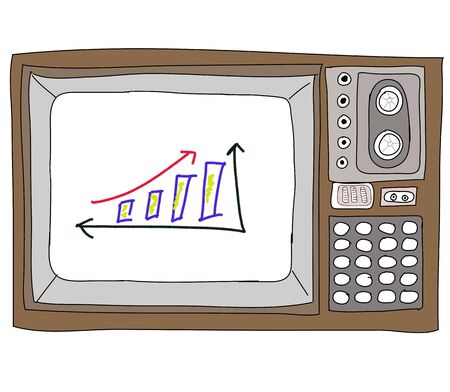 Drawing  television retro  and   graph Stock Photo - 17576699