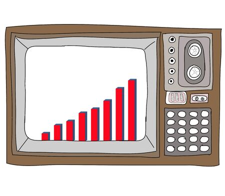 Drawing  television retro  and   graph Stock Photo - 17576695