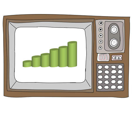 Drawing  television retro  and   graph Stock Photo - 17576684