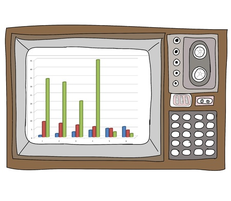 Drawing  television retro  and   graph Stock Photo - 17576686