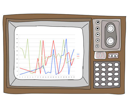 Drawing  television retro  and   graph Stock Photo - 17576698