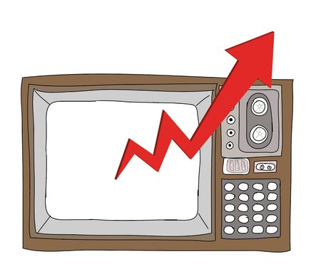 Drawing  television retro  and   graph Stock Photo - 17576682