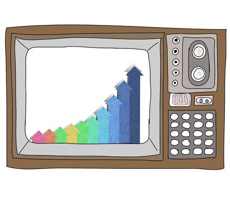 Drawing  television retro  and   graph Stock Photo - 17576691