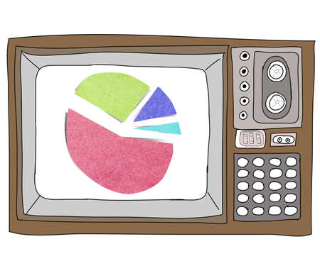 Drawing  television retro  and   graph Stock Photo - 17576703