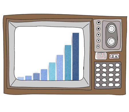 Drawing  television retro  and   graph Stock Photo - 17576690