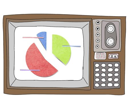 Drawing  television retro  and   graph Stock Photo - 17576702