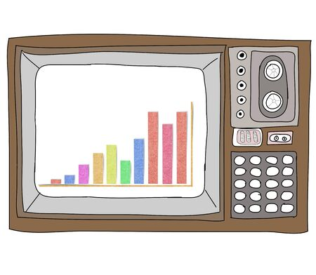 economic revival: Drawing  television retro  and   graph