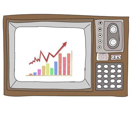 Drawing  television retro  and   graph Stock Photo - 17576685