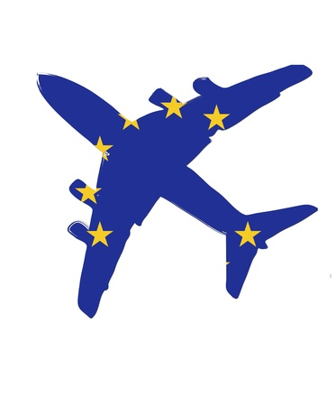 flight steward: The European Union flag painted on the silhouette of a aircraft. glossy illustration Stock Photo