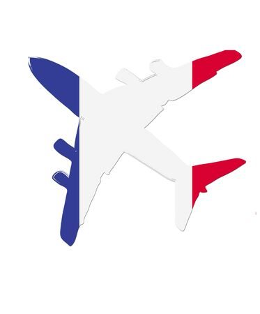 flight steward: The France flag painted on the silhouette of a aircraft. glossy illustration Stock Photo