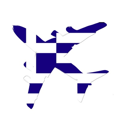 flight steward: The Greece flag painted on the silhouette of a aircraft. glossy illustration