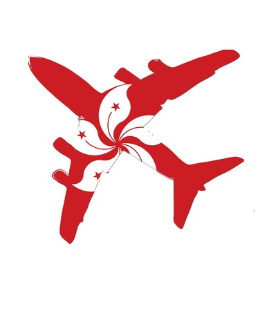 The Hong Kong flag painted on the silhouette of a aircraft. glossy illustration