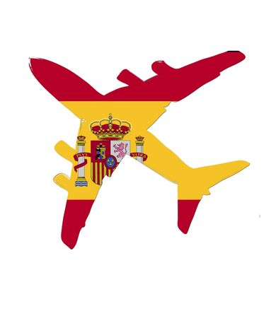 steward: The Spain flag painted on the silhouette of a aircraft. glossy illustration