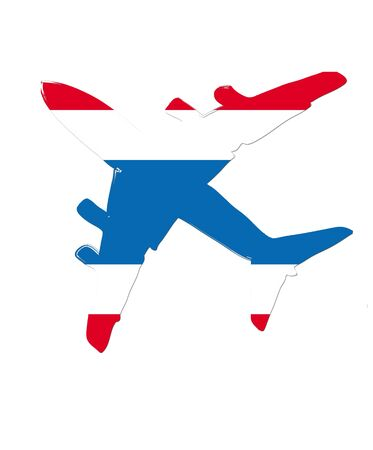 steward: The thailand flag painted on the silhouette of a aircraft. glossy illustration