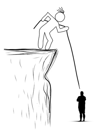 saved: drawing person pulled the rope from the cliff. Helping, saved Stock Photo