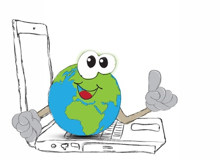 drawing An Earth globe as the world on your laptop computer keyboard photo