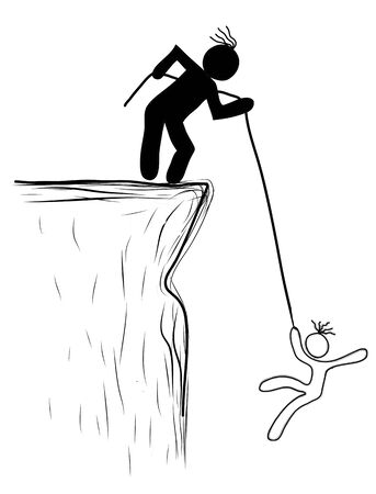 drawing person pulled the rope from the cliff. Helping, saved photo