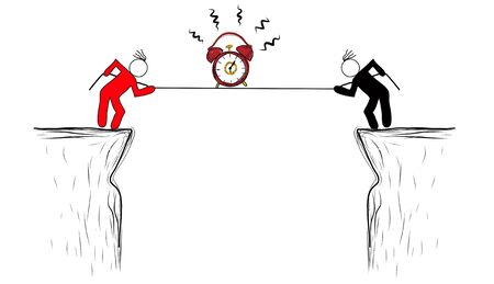 oclock: drawing Risk management business person with time.
