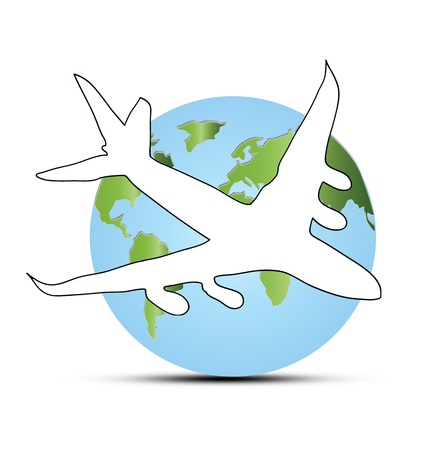 World travel concept: the Earth and a plane photo