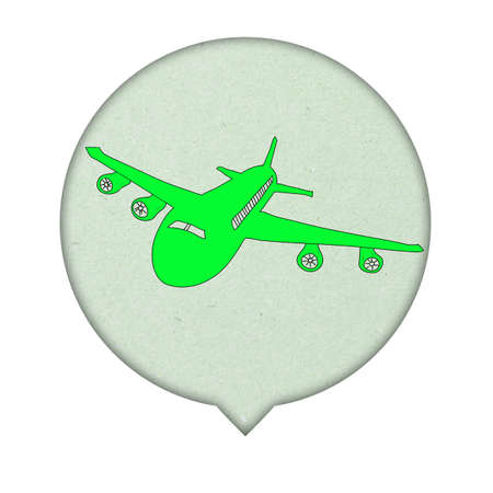 Airplane Sign icon on paper  background