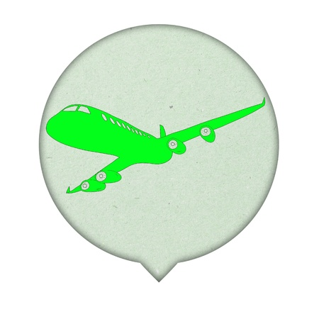 foreign land: Airplane Sign icon on paper  background