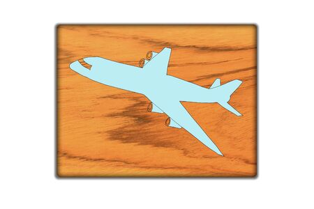 Airplane Sign icon on wood texture and background Stock Photo - 18044759