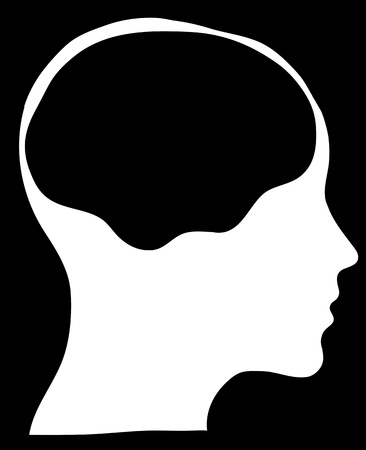 bald woman: graphic of a female head silhouette with a white brain area  Stock Photo