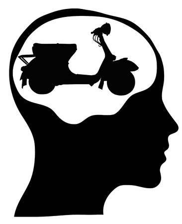 vespa  human mind Isolated over background photo