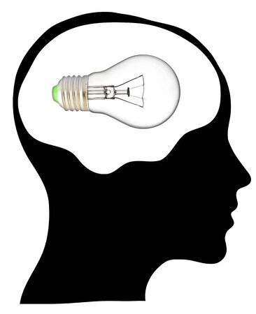 A light bulb shines in the head of a thinking man, concept of a bright idea, invention, inspiration photo