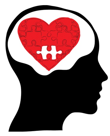 heart intelligence: Love concept with human head