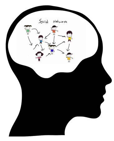 Denkenden Menschen, die ein soziales Netzwerk. Konzeptionelle Bild