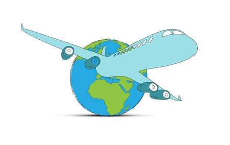 sketch airliner with a globe Stock Photo - 18044683