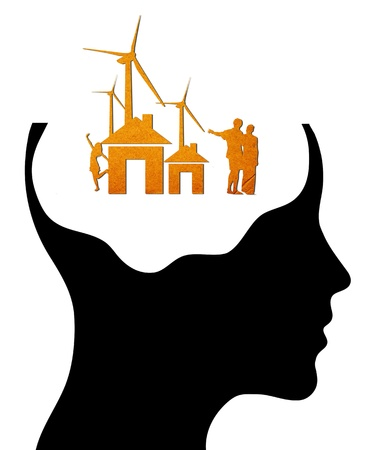A concept for Dream Home, where Thinking head silhouette photo