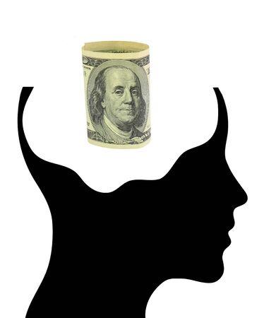 Dollars to control the human brain Stock Photo