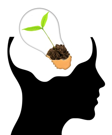 bulb with ecology symbol in human head, photo