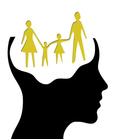 A concept for Dream family , where Thinking head silhouette photo