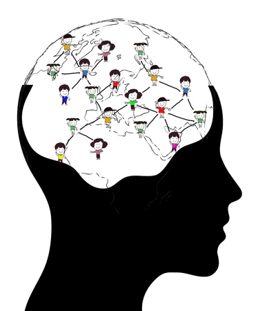 intelligent partnership: Thinking man representing a social network. Conceptual image