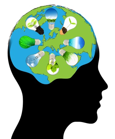 world of the human mind Isolated over background photo