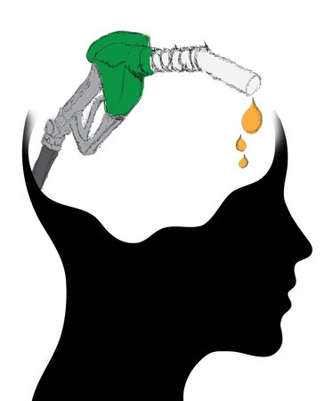 environmental awareness: Thinking Head - A depiction of Idea, fuel pump Stock Photo